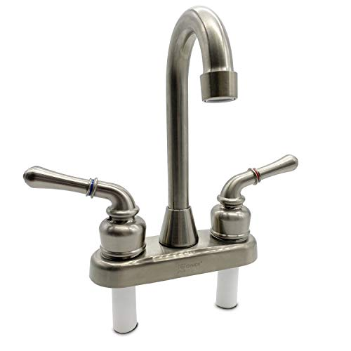 OYMOV RV Kitchen Bathroom Bar Sink Faucet - RV Parts Replacement Non-Metallic Widespread 4 Inch 2 Handles Faucets for RVs, Fifth Wheels, Motorhomes, Travel Trailers, Campers - Brushed Nickel