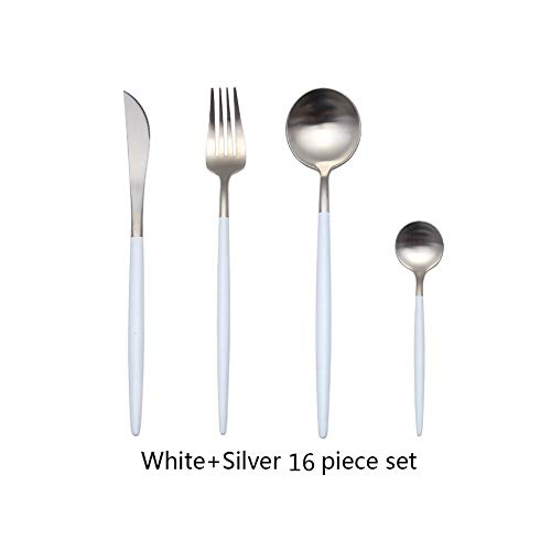24pcs Hot Sale Dinner Set Cutlery Knives Forks Spoons Wester Kitchen Dinnerware Stainless Steel Home Party Tableware Set,White Silver16pcs