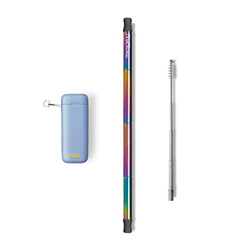 FinalStraw Collapsible, Reusable, Metal Straw | Travel Case, Cleaning Tool | Easy to Clean | Stainless Steel and 100% Silicon Tips | Eco-Friendly | Arctic-Melt Blue Case, Rainbow Stainless Steel