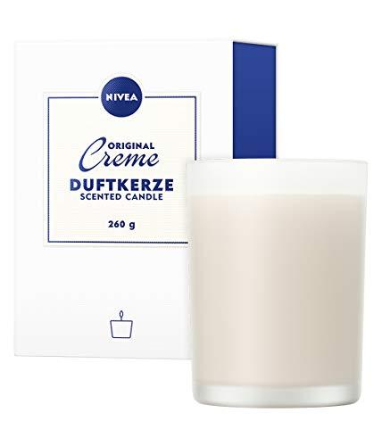 NIVEA Bougie parfumée à la crème NIVEA, Jolie bougie senteur crème NIVEA dans un porte bougie en verre, Bougie délicatement parfumée dans bougeoir en verre opale, 260 g