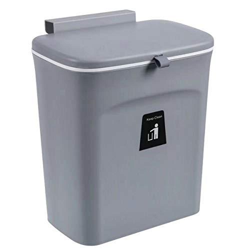 JMGoodstore Wand befestigter, Faltbare Küchenabfälle Auffangschale inklusive Schaber,Kleine kompakte Mülltonne, Push-top Trash Can (Grau)