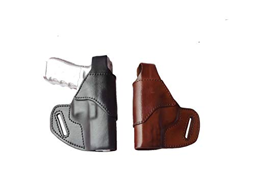 J&J Custom Fit S&W M&P Shield 9/40 M2.0 W/Factory Integrated Crimson Trace Laser OWB (Outside The Waistband) Belt Carry Formed Premium Leather Holster with Thumb Break (Black, Right)