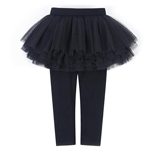 Baby Toddler Little Girls Footless Tights Leggings with Lace Ruffle Tutu Skirts Stretchy Cotton Pants 3-11T Black