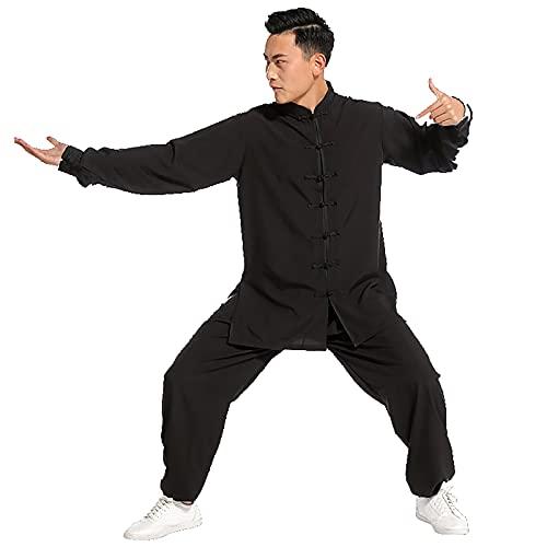ZLZNX Disfraz de Kung Fu para hombre de artes marciales Kung Fu uniforme de meditación Zen traje de tai chi traje de kung fu ejercicios matutinos ropa de entrenamiento Wing Chun Taekwondo, negro, XXL