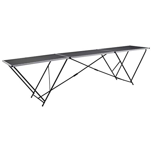 FAMIROSA Mesa para empapelar Plegable de MDF y Aluminio 300x60x78 cm