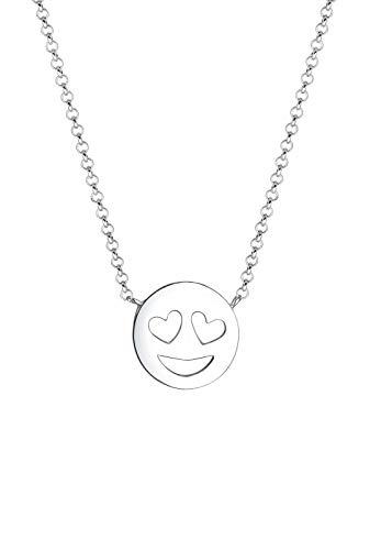 Elli Halskette Damen Smiley Face Emoji in 925 Sterling Silber