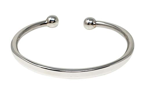 Men's Heavy Solid 925 Sterling Silver Torque Bangle Bracelet - Plain Silver Bracelet for Men