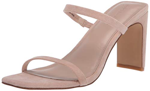 The Drop Women's Avery Square Toe Two Strap High Heeled Sandal, Natural, 8