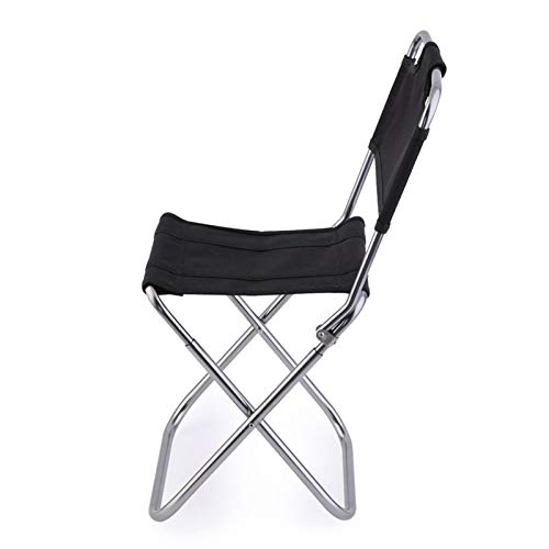 BSLBBZY El Respaldo del Asiento Plegable portátil Ligero de Aluminio Oxford Silla de heces for la Pesca Que acampa (Color : Black, Size : One Size)