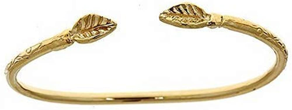 Midtown Finding 14K Yellow Gold Baby West Indian Bangle w. Leaf Ends (Made in USA)