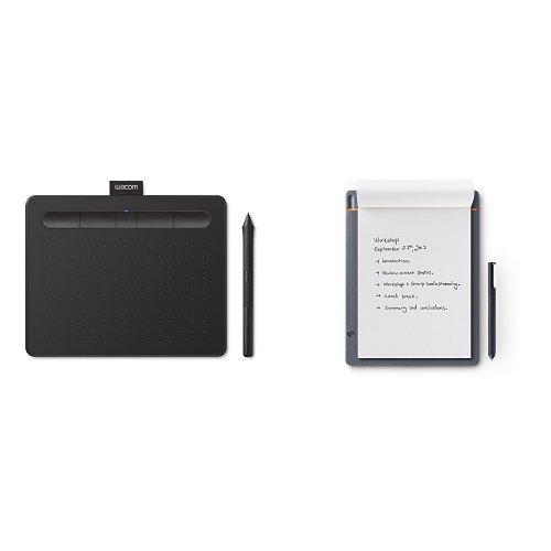 Wacom CTL-4100WLK-S Intuos Tavoletta Grafica con Penna, Software Creativo, Small, Bluetooth, Nero + CDS-610S Slate, Taglia A5, Grigio Medio