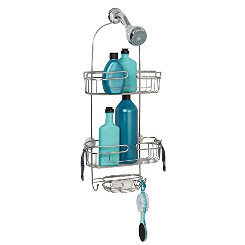 Zenna Home Shower, Stainless Steel Over-The-Showerhead Caddy, 2 Shelves with Soap Dish, Stainless