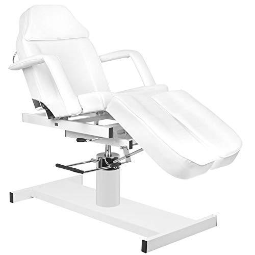Activeshop 210C Pedi Kosmetikliege Massageliege Massagetisch Massagestuhl Weiss bis 150 kg belastbar Premium-PU-Leder 180 x 63 x (64-80) cm (L x W x H)