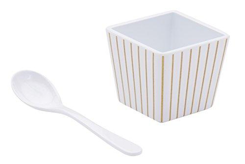 Sugar & Cloth Conjunto de colher e copo de sobremesa de melamina com listras douradas, 8 peças, serviço para 4
