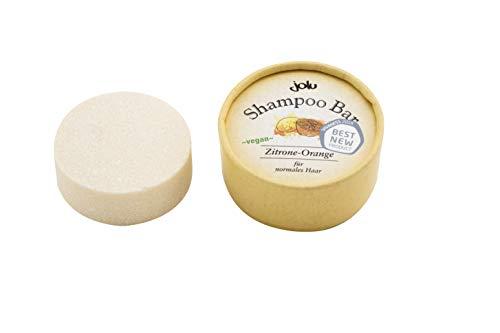 JOLU Festes Shampoo Zitrone Orange Bio Haarseife für alle Haartypen | Shampoo Bar Naturkosmetik Damen Männer | Seife für Haare | Plastikfreies Shampoo vegan ohne Tierversuche