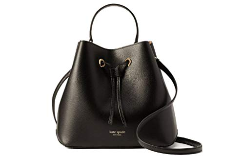 "- Italian saffiano leather - slip pocket on inside and backside of handbag - drawstring closure - crossbody strap - 10""L x 5.9""W x 10.4""H"