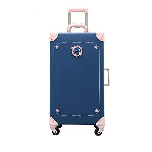 ZHJ Maleta Retro, Hembra Linda, versión Coreana de la Caja de tracción, pequeña y Fresca, Rueda wanxiang, Viaje con Personalidad, Maleta Portatrajes de Viaje (Color : Blue, Size : 26)