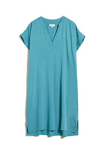 ARMEDANGELS NIARAA - Damen Kleid aus LENZING™ ECOVERO™ M Teal Blue Kleider Web, Dresses Woven V-Neck Oversize