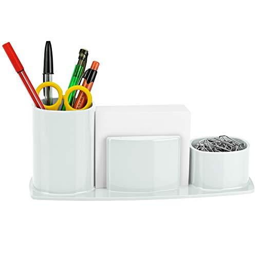 Acrimet Millennium Desktop Organizer Pencil Paper Clip Cup Caddy Holder (Plastic) (with Paper) (White Color)