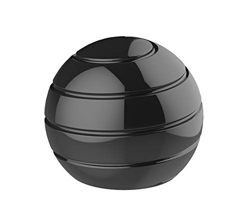 CaLeQi Desktop Ball Transfer Gyro Aluminum Alloy Kinetic Desk Toy Stress Relief Office Executive Gadgets Metal Ball Full Disassembly Rotary Decompression Toy (Black, S 38mm Ball)