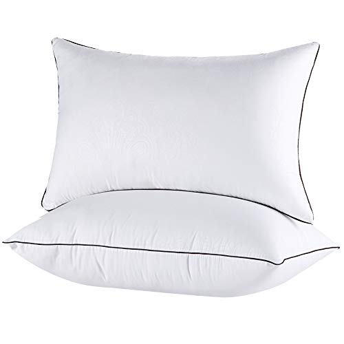 Queen Pillows for Sleeping 2 Pack-Hypoallergenic Bed Pillow Hotel Down Alternative Sleeping Pillows for Side and Back Sleeper, Soft Firm Pillows Queen Size Set of 2-20 x 30 Inches