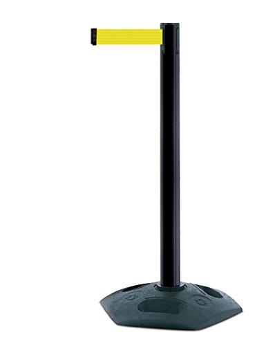 tensabarrier 886m-33-y5schwere Post mit Ein schwarz Gummi Boden Und Gelb Gurtband mit einem Anti Tamper Klebeband Ende, 2,3m, Schwarz