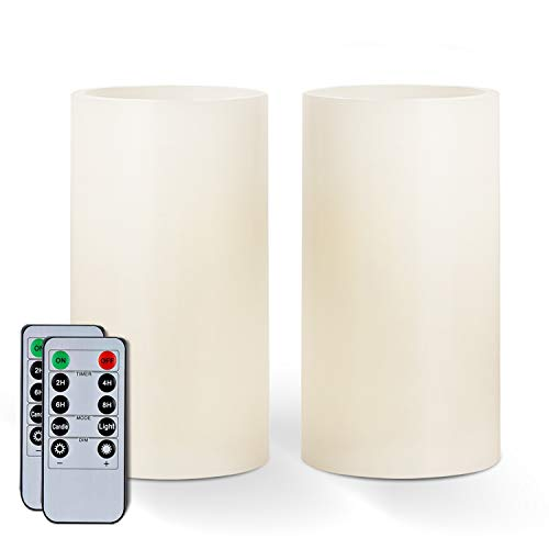 """Amagic 6"""" x 3"""" Wax Flameless Candles, Battery Operated Flickering LED Pillars with 2 Remote Controls and Timers, Amber Yellow Glow, Long-Lasting, Indoor, Ivory, Set of 2"""