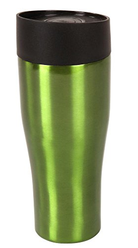 Steuber Thermo Trinkbecher 380 ml aus Edelstahl metallic-grün, Winter Sportflasche mit Schraubverschluss, doppelwandige Thermoflasche