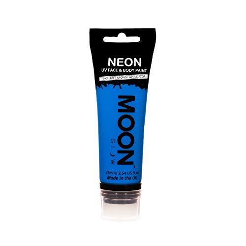 Moon Glow Grande Pintura Corporal y Facial 75ml UV Glow Intenso Azul - Fluorescente incandescente con aplicador de esponja