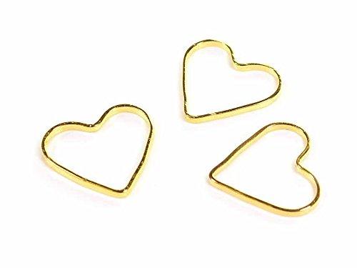 Vintageparts Verbinder Valentine aus Messing in goldfarben 20 Stück DIY Schmuck Schmuckverbinder Schmuckanhänger Bindring Herz Herzform