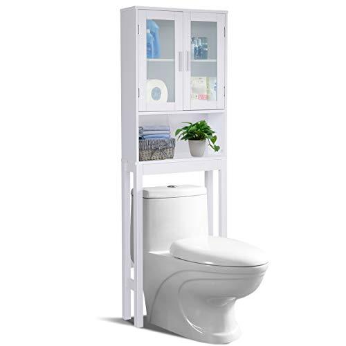 GOPLUS Toilettenregal, Waschmaschinenregal, Toilettenschrank, Überbauregal, Überbauschrank, Badregal, Badschrank, Badmöbel, Hochschrank, Schrank in Badzimmer