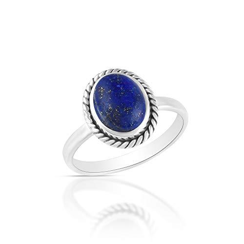 Sechi By Siblings Anillo de compromiso de plata de ley 925 con piedras preciosas de lapislázuli natural, regalo de San Valentín para ella