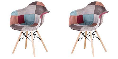 Sillón de patchwork de dos piezas de tela de lino de ocio sala de estar esquina de recepción silla con respaldo y patas de madera natural estilos (rojo2)