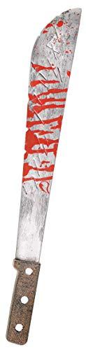 Amscan 840032-55 - Blutige Machete, 1 Stück, Länge ca. 53 cm, Grau-Braun mit Blut verschmiert, Kostümzubehör für Karneval und Halloween, Attrappe, Henker, Zombie, Accessoire, Verkleidung, Kostüm
