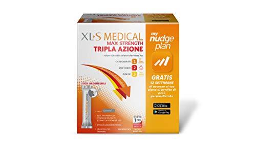 Xls Medical Max Strength Tripla Azione Trattamento per la Perdita di Peso per Donna e Uomo, Favorisce la Perdita di Peso, Gusto Fruttato, 60 Stick