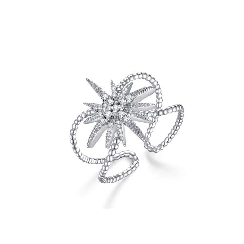 Immobird Anillo de mujer de plata de ley 925 con estrella de 12 puntas, fácil apertura, anillos ajustables