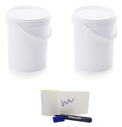 MARKESYSTEM - Cubo HERMÉTICO Catering - Pack de 2 X 15,9 litros - Cubos de Plástico con Tapa - Contenedores Apilables - Envasar Alimentos, Líquidos y Pinturas - Polipropileno Blanco + Kit Etiquetado
