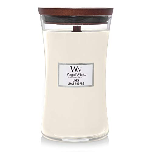 Woodwick Large Hourglass Scented Candle | Linen | with Crackling Wick | Burn Time: Up to 130 Hours Glass, Linen