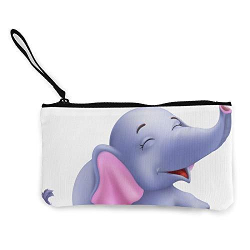 Monedero de tela con diseño de elefante para bebé, bolso pequeño con cremallera, bolsa para teléfono móvil con asa
