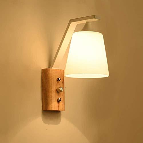 GIOAMH Lámpara de pared LED vintage, lámpara de pared de madera, pantalla de vidrio, lámpara empotrable E27 para sala de estar, cocina, dormitorio, mesita de noche, loft, pasillo, lámpara de noche, a