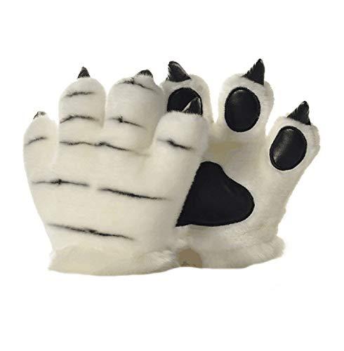 LANFIRE Tierpfote Klaue Hand Handschuhe Fluffy Künstliche Tiger Pfote Handschuhe Leopard claw dinosaurier klaue bär claw Handschuhe Party Bühne Leistung Kostüm Für Kinder Erwachsene (Weißer Tiger)