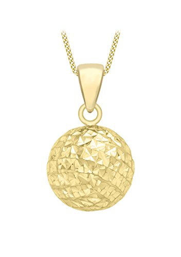 Carissima Gold Women's 9 ct Yellow Gold Diamond Cut Ball Pendant on Curb Chain Necklace of Length 46 cm