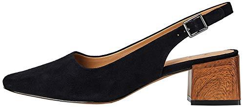 Amazon-Marke: find. Square Toe Block Heel Slingback Pumps, Schwarz (Black), 38 EU