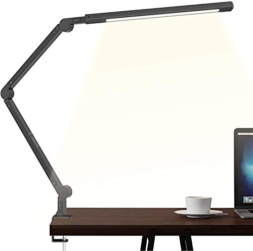 Lámpara Escritorio, Wellwerks 9W Flexo LED Escritorio Abrazadera Brazo Luz Regulable con 6...