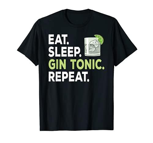 Eat sleep Gin Tonic Repeat per Gin Lover Maglietta