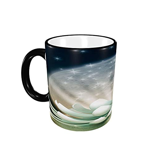 Taza de café Hermosa Flor de Loto Tazas de café Florales Tazas de cerámica con Asas para Bebidas Calientes - Latte, Tea, Cocoa, Tea Cup, Coffee Gifts 12 oz,Black
