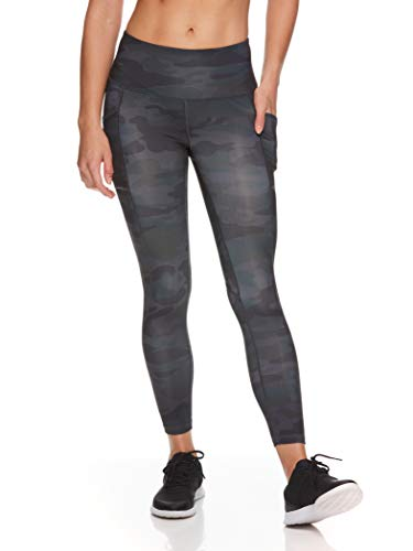 Reebok Women's 7/8 Workout Leggings w/High-Rise Waist - Performance Compression Athletic Tights - Precision High Rise Black, X-Small