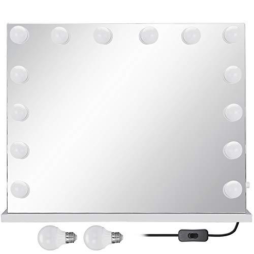 VEVOR Kosmetikspiegel mit LED-Tischlampe 84x83cm, Kosmetikspiegel mit Beleuchtung, Schminkspiegel Beleuchtet mit 16 Stück, Ohne Grenzen Vanity Led, Dimmbaren LED-Lampen für Tisch Kosmetik Einstellbar