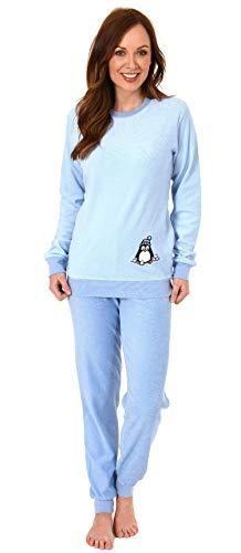 Damen Frottee Pyjama Langarm Schlafanzug mit Bündchen und süßem Pinguin Motiv - 201 13 564, Farbe:hellblau, Größe2:44/46