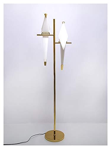 YSVSPRF lámpara de Piso Lámpara de pie de Papel de pájaro LED Home Deco Moderno Dorado Lámpara de pie Dormitorio Sala de Estar Origami Floor Light Además Lámpara (Lampshade Color : 2 Heads 12W)